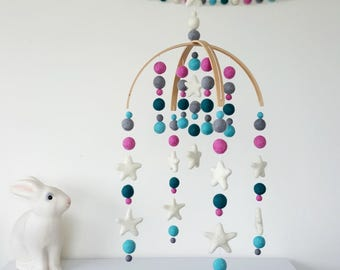 Cot Mobile, Felt Ball Mobile, Baby Mobile, Nursery Mobile, Crib Mobile, Custom Made Mobile, Pom Pom Mobile, Baby Shower, Mobile for Baby