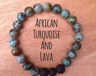 Semi Precious Gemstone and Lava Bracelet - African Turquoise