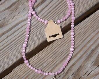 Pink Elk Antler Necklace (Long)