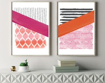 Modern Abstract Prints, Set of Two, Wall Art, Illustration, Contemporary Prints