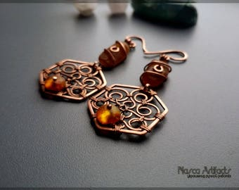 "Earrings ""Tree of Life"" with amber"