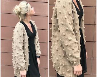 Christmas gift Cardigan bohemian beige wool women hand knit coat chunky oversize sweater fashion knitwear winter wool knitted designer coat