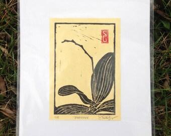 Patience Linoleum Block Print