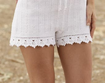 Summer Shorts Lace crochet shorts handknit shorts white shorts gothic lolita boho shorts beach shorts fashion Drops Lilith