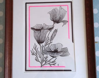 Original drawing art poppy flower - felt and neon ink - trendy decor, contemporary - poppies - inspiration the 20s