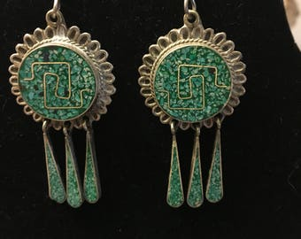 Reserved for MyMetro: Signed silver and turquoise vintage earrings