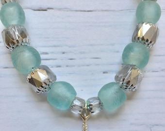 Aqua glass starfish necklace set