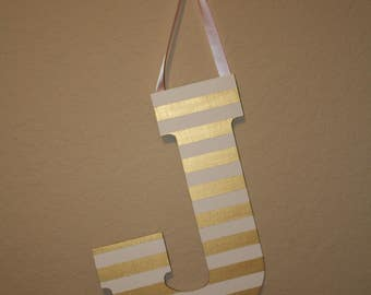 "13"" Striped Initial Door Hanger"