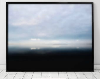 Ocean Art Print, Water, Coastal Wall Decor, Beach Art, Large Printable Poster, Digital Download, Modern Art, Abstract, Minimal clouds