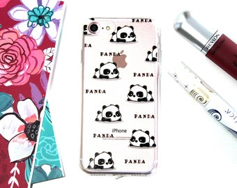 iPhone 7 Soft Silicone Cute Panda Cell Phone Case, Happy Panda iPhone 7 Case, Birthday Gift For Sister Under 20, Baby Shower Gift For Mom