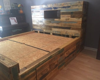 pallet bed with storage and stairs