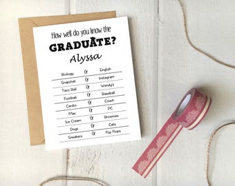 "Graduation Party Game ""How Well Do You Know the Graduate"" Printable Template / 5x7 Card / Editable Instant Download / Funny Grad Party"