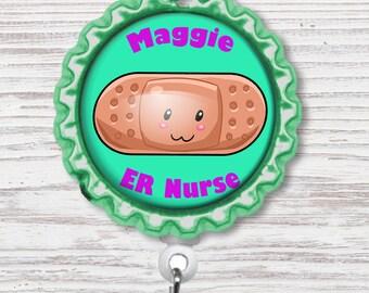 Nurse Badge Reel | Bandaid Bottle Cap Badge Reel | Band Aid Badge Reel | Bottle Cap Retractable Badge Reel | Nurse Badge Reel | CNA Badge