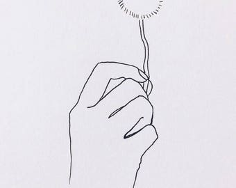 "Minimalist Hand Drawing ""Make a Wish"""