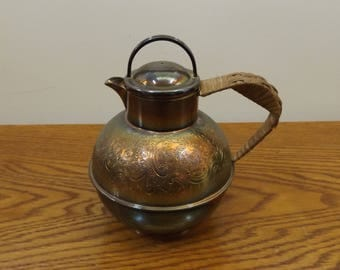 Vintage 1930's Silver Plate Teapot in Paisley Pattern with Wicker Handle