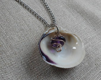 Real wampum shell necklace/pendant with purple charm