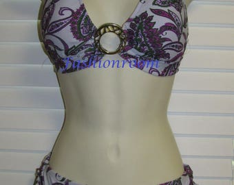 New Mossimo Lilac Floral Halter Top Bikini Bathing Suit Swimwear 2pc L Large
