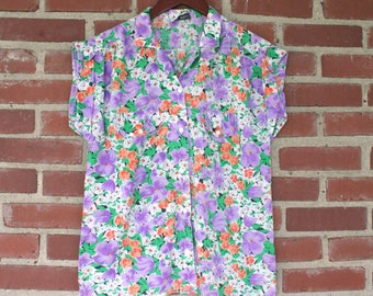 Vintage Floral Button Up Shirt Short Sleeved - rolled sleeves - 80s/90s