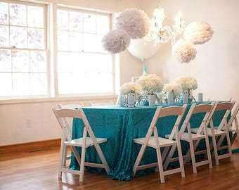 turquoise sequin table linen | sequin tablecloth |  sequin table linen | blue sequin tablecloth | sequin wedding decor | wedding tablecloth