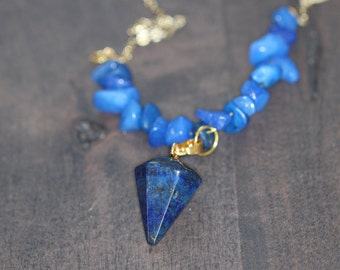 Gold Lapis Lazuli Necklace, Gold Chain Necklace, Pendule Lapis Lazuli Pendant, Lapis Lazuli Jewelry, Yoga Jewelry