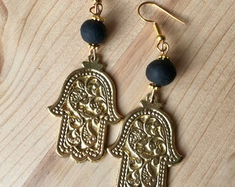 Hand made oriental earrings made of gold-plated copper
