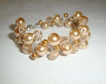 Golden Sands Pearl Swarovski and Silver Bracelet