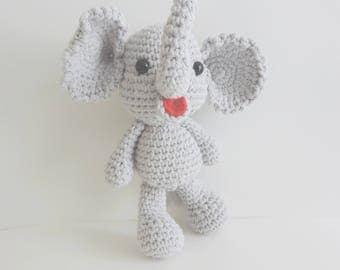 Elephant plush, cuddly elephant, elephant, crochet, handmade, amigurumi elephant kawaii, cute animals