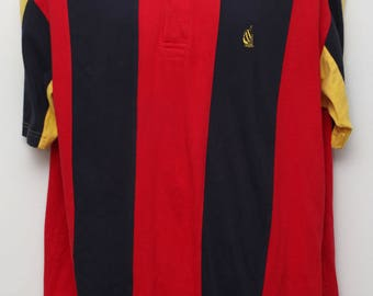 """Rare 90's Vintage """"NAUTICA"""" Short-Sleeve Colorful Pinstripe Patterned Polo Shirt Sz: LARGE (Men's Exclusive)"""