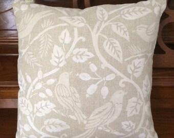Custom Dark Beige White Birds Pillow Cover