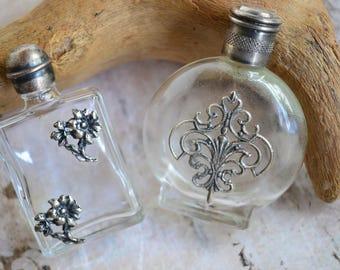 Vintage miniature Perfume bottles.Set of two Perfume Bottles. Mini Bottles with silverplated Ornaments. 60'sParfume bottles .Parfume Bottles