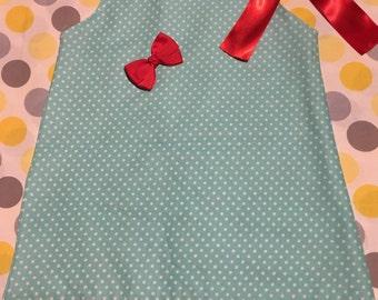 Pillowcase Dress - Blue and White Polkadots