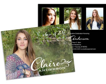 Graduation Party Invitation with Photos customized 5x7 - 2 sides, printable file or printed cards
