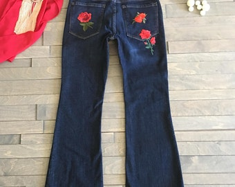 Embroidered Roses Woman Jean Denim