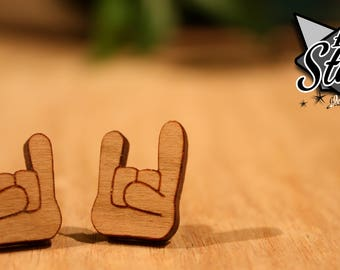 Rock On Stud Earrings - Laser Cut Wood