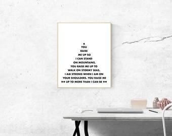 You Raise Me Up, Josh Groban Lyrics, Mountain Text, Simplistic Art, Modern Minimalist, Printable Poster,  Lyrical Print