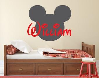 Name Wall Decal - Disney Decal - Mickey Mouse Wall Art Disney Kids Wall Decal - Custom Name Nursery Vinyl Wall Decal