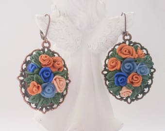 Blue and beige rose earrings/ Rose earrings/ Handmade jewelry/ Polymer clay earrings/ Floral earrings/ Gift for Her/Boquet earrings