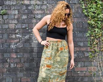 Preloved Vintage Midi Skirt Green Orange Pattern High Waisted