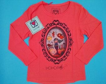 t-shirt girl - kid - pink - mini shopper - button - pin -  doll - mermaid - romantic - cameo - handmade - gift idea - kokoronaif tees