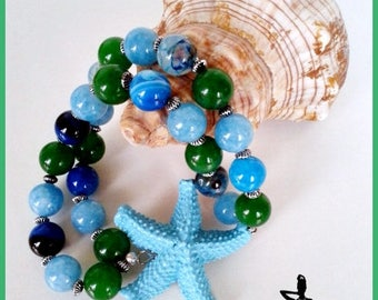 Double strand bracelet with starfish
