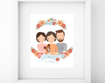 Family Portrait/Mother's Day Gift/Family Portrait Custom/Family Portrait Illustration/Birthday Gift/Mother's Day/