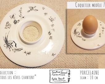 Egg Cup porcelain illustrated, model 7