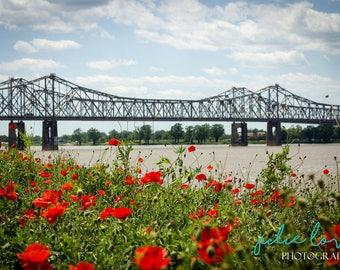 Riverwalk - Bridge, Wall Art, Art Photography, Outdoors, Color, Twins, Home Decor, Mississippi, Louisiana, Poppies