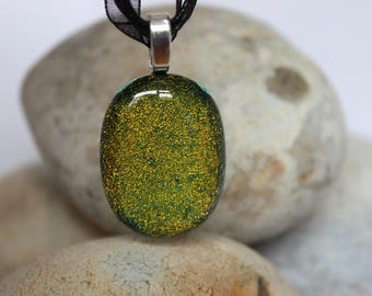 unique handmade Gold/green fused glass pendant with necklace for her