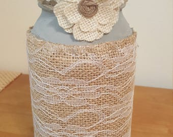 Burlap & Lace Wrapped Mason Jar