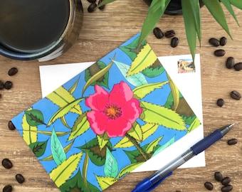 Wildflower - Alberta Wild Rose - Blank Card - Envelope Included - Recycled Paper