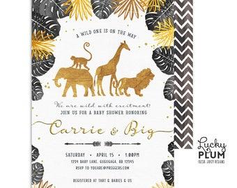 Safari Baby Shower Invitation / Black Gold Safari Baby Shower Invitation / Couples Coed Baby Shower Invitation / Gender Neutral / SF02