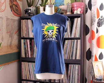 vintage Search & Destroy t-shirt . sleeveless blue tee, unisex shirt