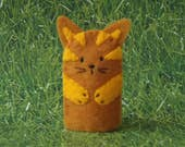 Kitty Cat Finger Puppet Golden Ginger - Cat Puppet - Felt Cat Finger Puppet - Felt Finger Puppet Kitty Cat - Finger Puppet Cat