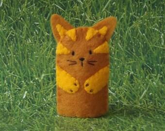 Kitty Cat Finger Puppet Golden Ginger - Cat Puppet - Felt Cat Finger Puppet - Felt Finger Puppet Kitty Cat - Finger Puppet Cat